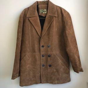 VTG Gran Lusso Suede Jacket Sz L Tan Faux Fur 80s